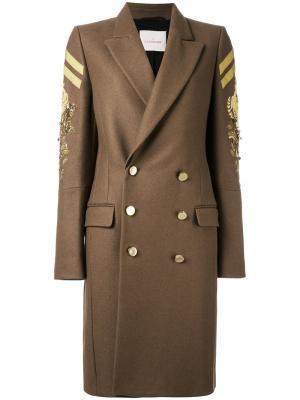 Двубортное пальто в стиле милитари A.F.Vandevorst. Цвет: телесный