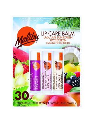 Бальзам для губ Malibu Ягоды/Арбуз/Ваниль SPF 30. Цвет: фиолетовый, бежевый, розовый