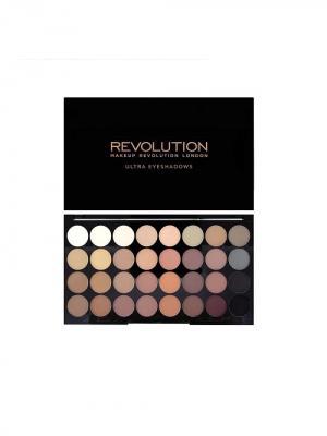 Палетка теней Ultra 32 Shade Eyeshadow Palette, Flawless Matte,матовая MakeUp Revolution. Цвет: коричневый, бежевый
