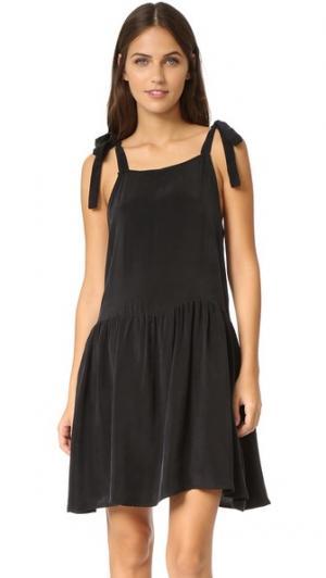 Платье с завязками на плечах ANINE BING. Цвет: голубой