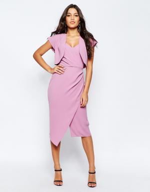 ASOS Мягкое платье-футляр бандо с укороченным пиджаком. Цвет: фиолетовый