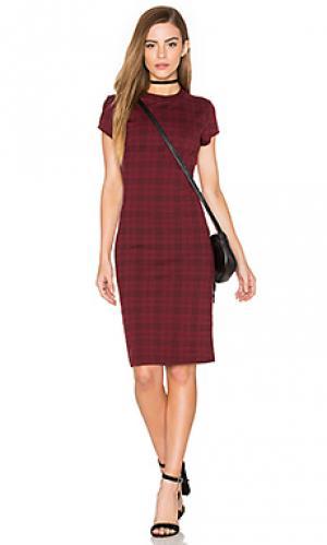 Платье-мини в клеточку ellie Bishop + Young. Цвет: красный