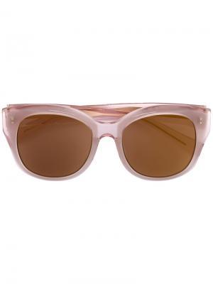 Солнцезащитные очки в круглой оправе Maska. Цвет: розовый и фиолетовый