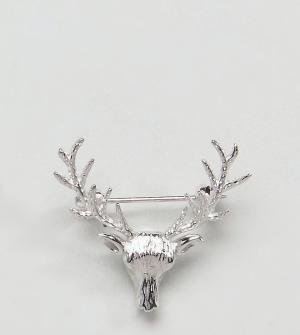 DesignB London Серебряная брошь эксклюзивно для ASOS. Цвет: серебряный