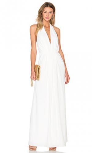 Плиссированное вечернее платье с v-образным вырезом JILL STUART. Цвет: белый