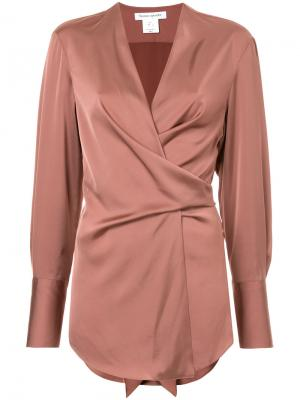 Блузка с запахом Bianca Spender. Цвет: коричневый