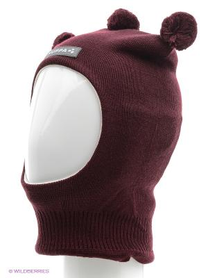 Вязаная шапка-шлем HUPPA. Цвет: бордовый