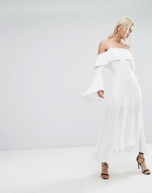 C/meo Collective Платье макси с оборкой Compose. Цвет: белый
