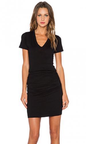 Платье с вырезом v permanent collection MONROW. Цвет: черный