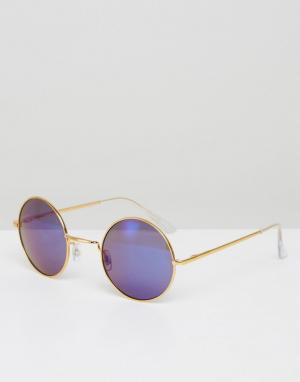 7X Круглые солнцезащитные очки с синими стеклами. Цвет: золотой