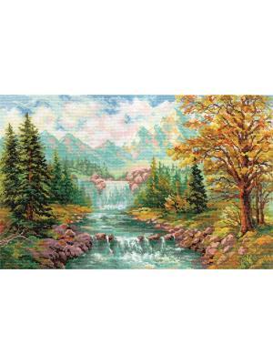 Набор для вышивания Горный водопад  41х26 см. Алиса. Цвет: желтый,зеленый,морская волна