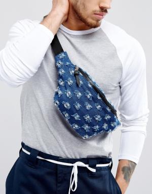 ASOS Джинсовая сумка-кошелек на пояс с прорехами. Цвет: синий