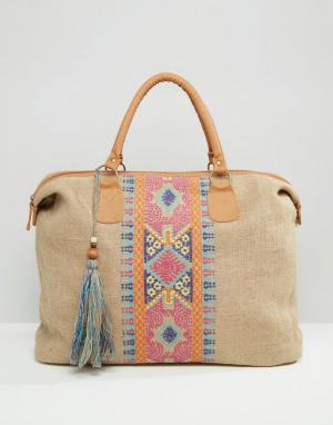 America & Beyond Дорожная сумка из джута с вышивкой крестиком. Цвет: мульти
