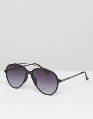 7X Черные солнцезащитные очки‑авиаторы. Цвет: черный