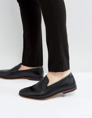 ASOS Черные кожаные лоферы с натуральной подошвой. Цвет: черный