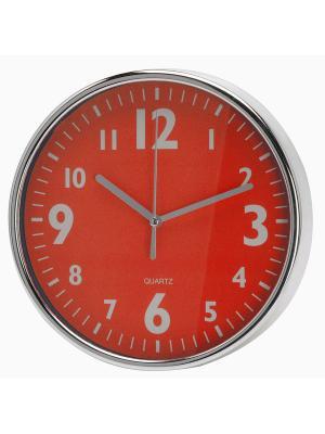 Часы настенные Серебристые цифры на красном (20 см) NAST231 Mitya Veselkov. Цвет: красный