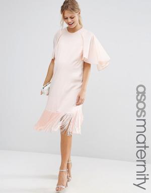 ASOS Maternity Платье-футболка для беременных с оборкой и рукавами-бабочкой Mate. Цвет: розовый