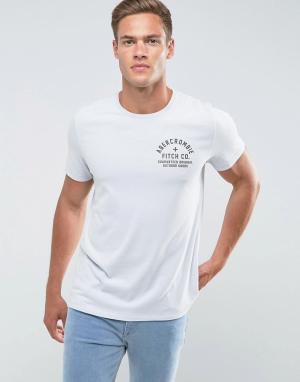 Abercrombie & Fitch Серая/синяя облегающая футболка с принтом. Цвет: синий