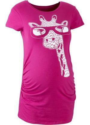 Мода для беременных: футболка с коротким рукавом (нежная фуксия принтом) bonprix. Цвет: нежная фуксия с принтом