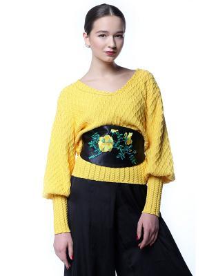 Пояс-оби Желтый шиповник SEANNA. Цвет: черный, оранжевый