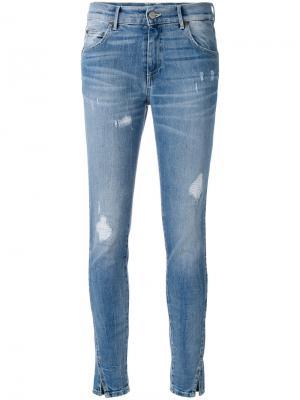 Облегающие рваные джинсы Htc Hollywood Trading Company. Цвет: синий