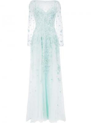 Платье с цветочной вышивкой Zuhair Murad. Цвет: синий