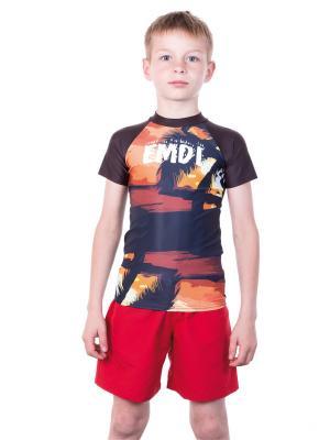Футболка EMDI. Цвет: коричневый, оранжевый