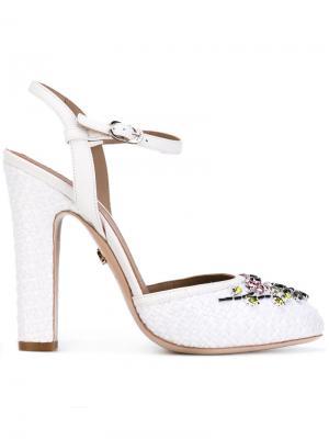Туфли с украшением из кристаллов Le Silla. Цвет: белый