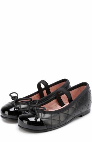 Кожаные балетки с лаковым мысом и прострочкой Pretty Ballerinas. Цвет: черный