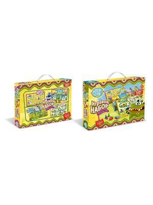 Куми - Куми. Игровой набор: 4 настольные игры + пазл в подарок, коробка с ручкой.. Цвет: желтый, синий, коричневый