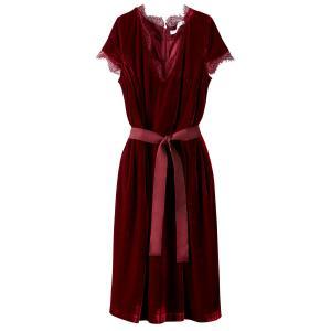 Платье из велюра с кружевом MADEMOISELLE R. Цвет: бордовый,черный