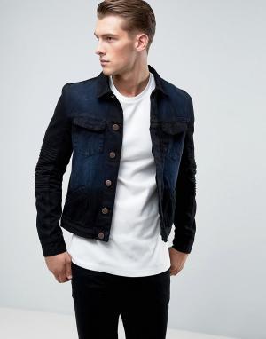 Juice Джинсовая куртка с отделкой в байкерском стиле. Цвет: черный