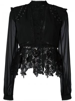 Блузка с кружевной отделкой Self-Portrait. Цвет: чёрный