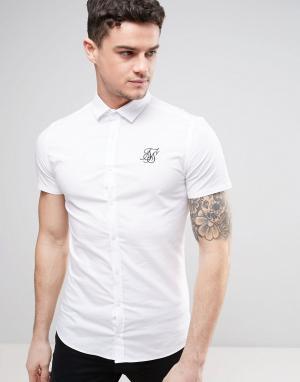 SikSilk Суперузкая рубашка. Цвет: белый