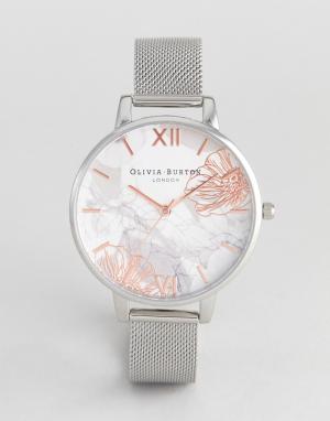 Olivia Burton Серебристые часы с сетчатым браслетом и абстрактным цветочным принтом. Цвет: серебряный