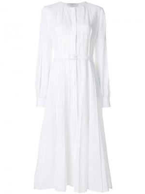 Плиссированное платье с поясом Gabriela Hearst. Цвет: белый