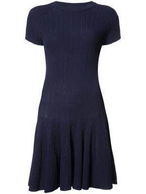 Платье-футболка ребристой вязки Jonathan Simkhai. Цвет: синий