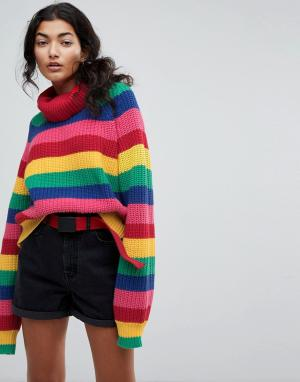 Lazy Oaf Трикотажный джемпер в разноцветную полоску с отворачивающимся воротом. Цвет: мульти