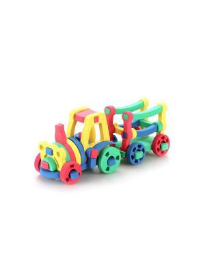 Развивающая игрушка конструктор Трактор с тележкой БОМИК. Цвет: светло-зеленый, красный, фиолетовый