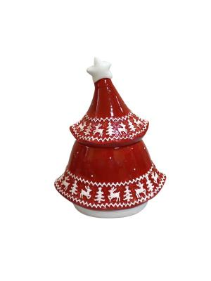 Конфетница Новогодяя елка 21*17*19 см и/уп Elff Ceramics. Цвет: красный, белый