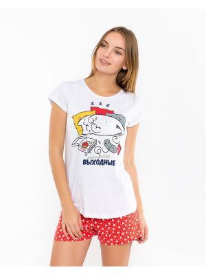 Пижама: футболка; шорты Mark Formelle. Цвет: красный, белый