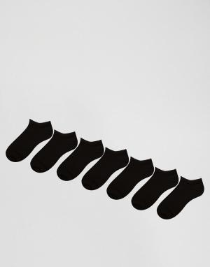 ASOS Набор из 7 пар черных спортивных носков. Цвет: черный