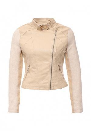 Куртка кожаная B.Style. Цвет: бежевый