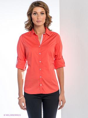 Рубашка MILANO ITALY. Цвет: коралловый, белый