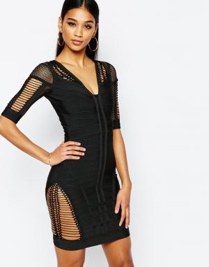 Wow Couture Облегающее бандажное платье с ажурными вставками. Цвет: черный