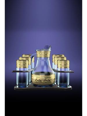 Набор для воды с барной стойкой 8 предметов рисунком Версаче Гусь-Хрустальный. Цвет: прозрачный