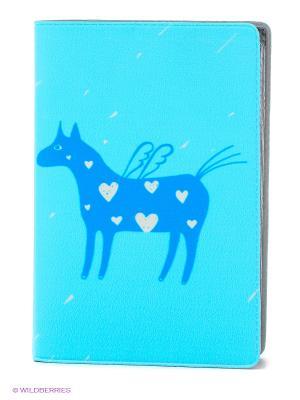 Визитница Крылатая лошадка на голубом Mitya Veselkov. Цвет: голубой