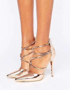 Office Золотисто-розовые туфли на высоком каблуке с перекрестными ремешками O. Цвет: золотой