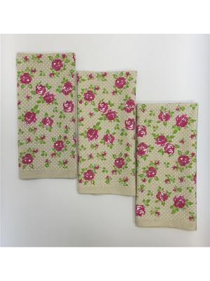 Набор-полотенец, 3 шт A and C Collection. Цвет: бежевый, розовый