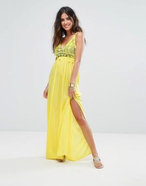 Liquorish Пляжное платье макси с отделкой кроше. Цвет: желтый